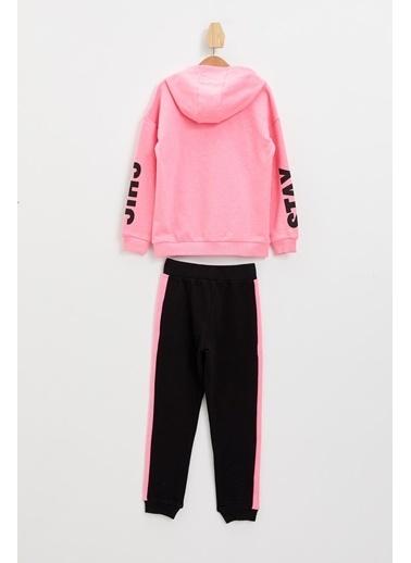 DeFacto Kız Çocuk Baskılı Sweatshirt ve Jogger Eşofman Takım Pembe